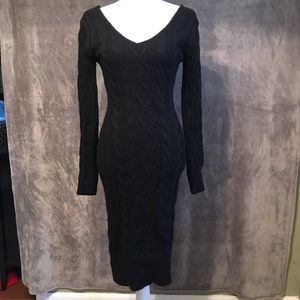 JOA Anthropologie Gray Cable Knit Sweater Dress XS